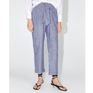 ZARA Cotton Linen Trouser Pant with Belt Tie